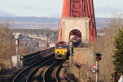 6K25 starts to pick it up off the Bridge having started at Dalmeny and gone round the Fife Circle to turn round 080215