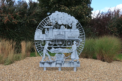 Striking installation in Dechmont commemorating the Uphall to Bangour Railway which served the long closed Bangour Hospital