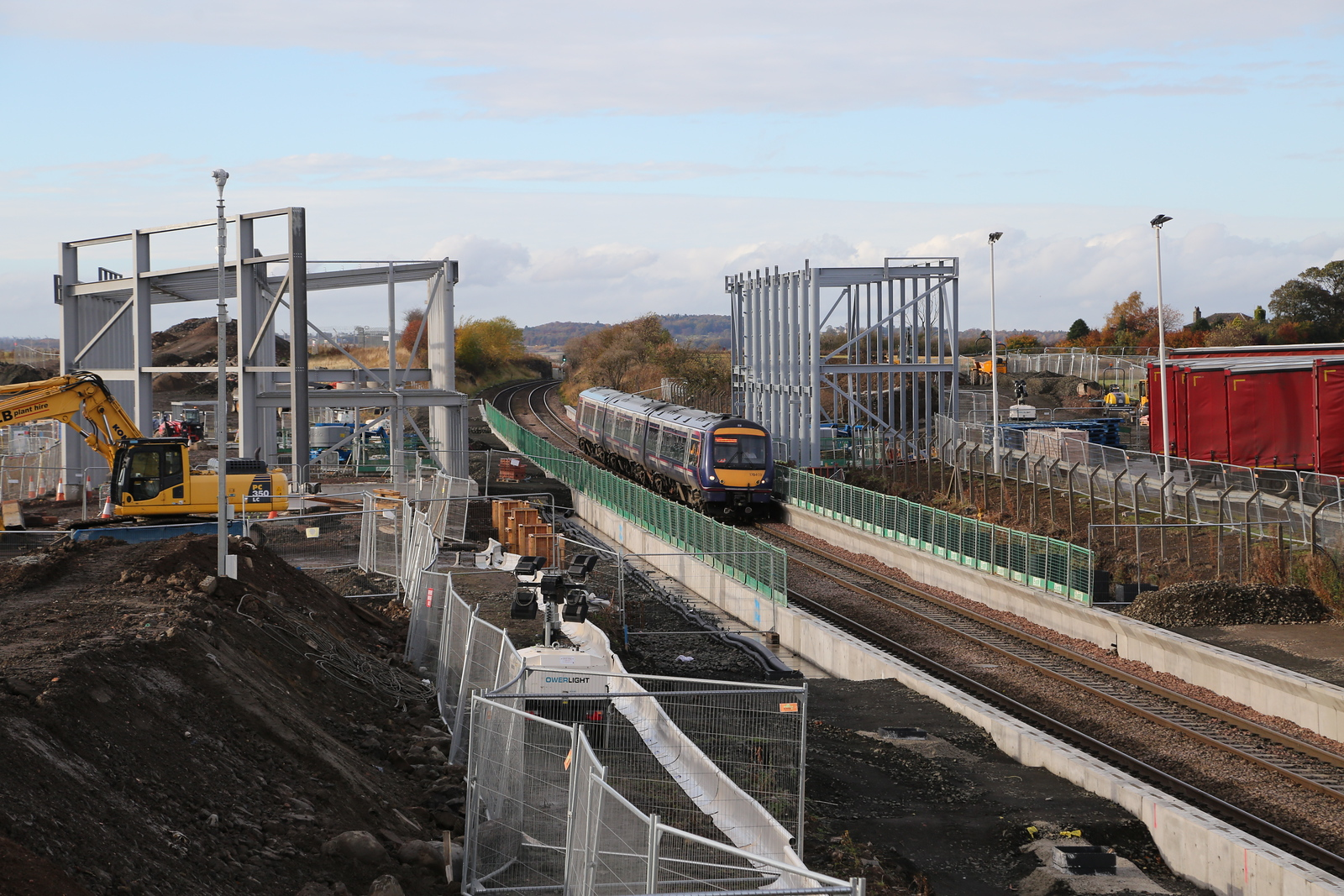 170409 passes the site of the new Edinburgh Gateway station with 1L52 1234 Dundee - Edinburgh
