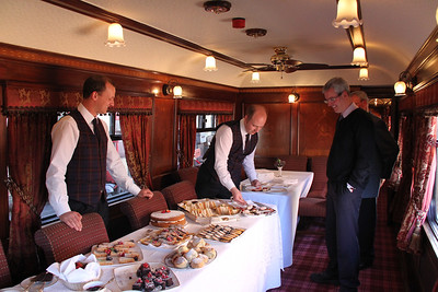 The Dodds chappies peruse the fine spread