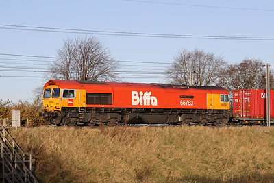 66783 approaches Kirknewton with the first run of 4S69 0608 Doncaster Iport Gbrf to Elderslie 3rd November 2020