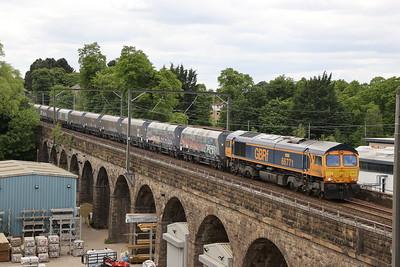 66771 on 6E05 Mossend - Hunslet at Slateford Viaduct 5th June 2021