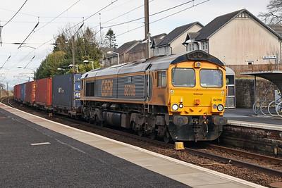 66708 Jayne passing Kirknewton with 4S69 Doncaster iPort - Elderslie 11th March 2021