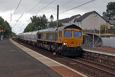 66740 Sarah 6S45 North Blyth - Fort William passing Kirknewton 23rd September 2021