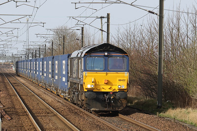 66422 on 4E65 Mossend - Tees Sunday 28th March 2021 approaching Kirknewton