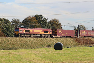 66200 with 4S99 Tees - Grangemouth climbing towards Kirknewton 28th September 2021