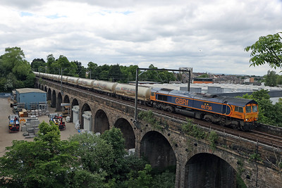 66736 on 4M01 diverted cement Mossend - Carlisle at Slateford Viaduct 6th June 2021