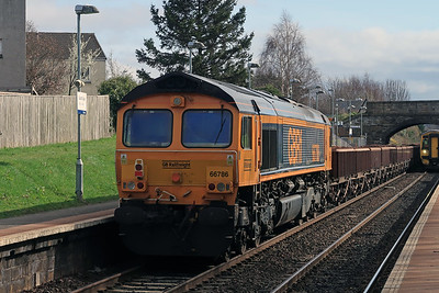 66786 on 6K25 Laurencekirk - Millerhill at South Gyle 21st March 2021