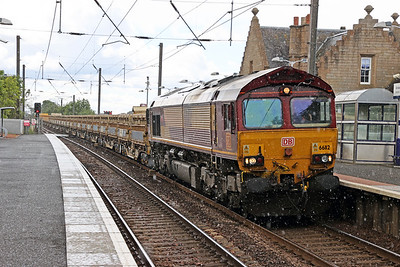 66112 passes Kirknewton with 6S50 Carlisle NY to Millerhill Friday 5th June 2020 in a 60 second hailstorm