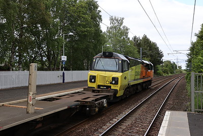 70816 passes Kirknewton with 6K20 Thornhill to Millerhill Rail Drop train 7th June 2020
