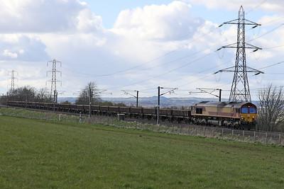 66127 6S50 Carlisle - Millerhill at Kirknewton 9th April 2021