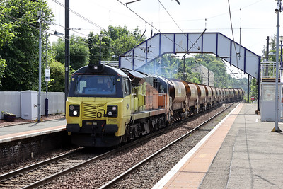 70806 and 70814 top and tail the 1230 Corkerhill - Millerhill empty ballast at Slateford 12th July 2021