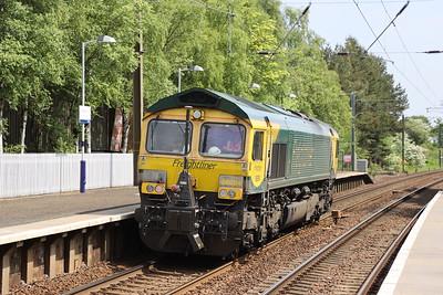 66504 with 0K70 RILA 1015 Millerhill to Mossend and return via Cobbinshaw at Kirknewton 3rd June 2021