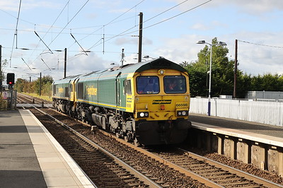66598 and 66526 run light from Coatbridge FLT to Millerhill Kirknewton 8th Oct 2020