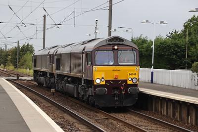 66746 and 66743 0Z43 Carlisle - Craigentinny passes Kirknewton 12th September 2020