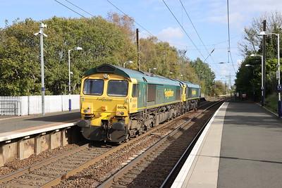 66526 and 66598 run light from Coatbridge FLT to Millerhill Kirknewton 8th Oct 2020