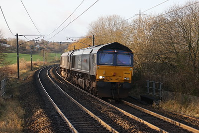 66301 and 66305 pass Curriehill with a Carlisle - Millerhill move on Saturday 21st November 2020