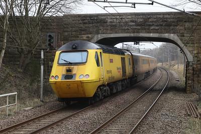 1Q26 passes Curriehill 2nd March 2021 as the 0613 Derby RTC - Edinburgh.  43062 John Armitt