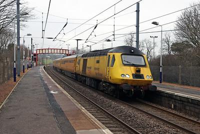1Q26 passes Curriehill 2nd March 2021 as the 0613 Derby RTC - Edinburgh. 43013 Mark Carne CBE