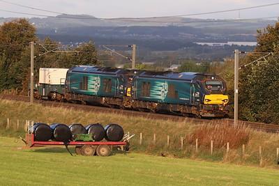 68033 leads 68001 on 6S43 east of Kirknewton 28th September 2021