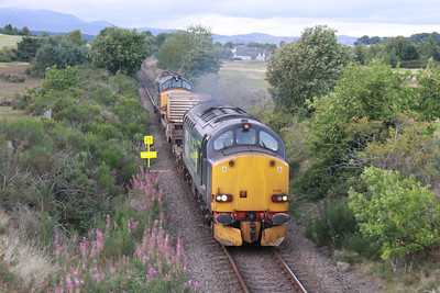 37608 roars past Muir of Ord with 6M98 for Carlisle