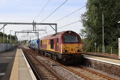 67016 leads 67012 through West Calder on 3S93 Stirling - Slateford on 21st Sept 2021