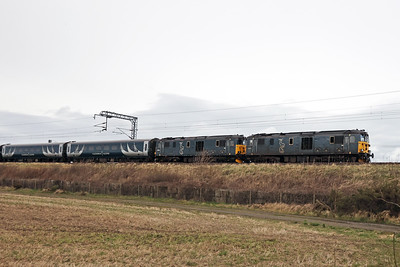 73971 and 73968 are 5Z74 0840 Inverness - Polmadie via Edinburgh on 9th March 2021, passing Freelands Road, Ratho