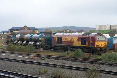 67004 with RHTT stock at Millburn Yard