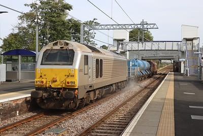 67012 follows 67016 through West Calder on 3S93 Stirling - Slateford on 21st Sept 2021