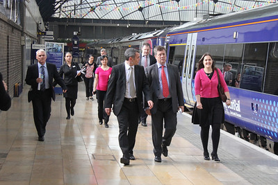 Kenny McPhail, Keith Brown MSP and Heather Cowan of Transport Scotland make up the platform party