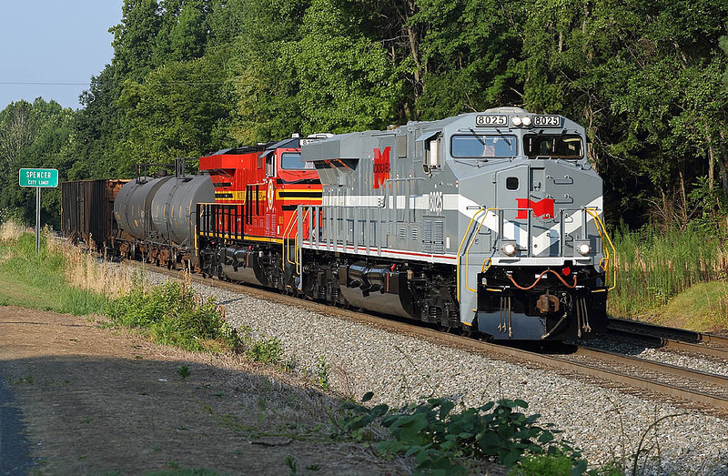 The Monongahela and Norfolk Southern RY motors on NS train 338 at Spencer,NC