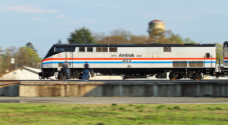 Amtrak 40th Anniversary motor #822 in the Amtrak Phase II paint scheme at Salisbury,NC.