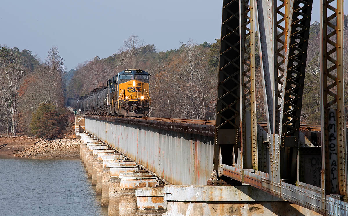 Ethanol train crossing the Yadkin River on the Winston-Salem Southbound RY at Whitney,NC.