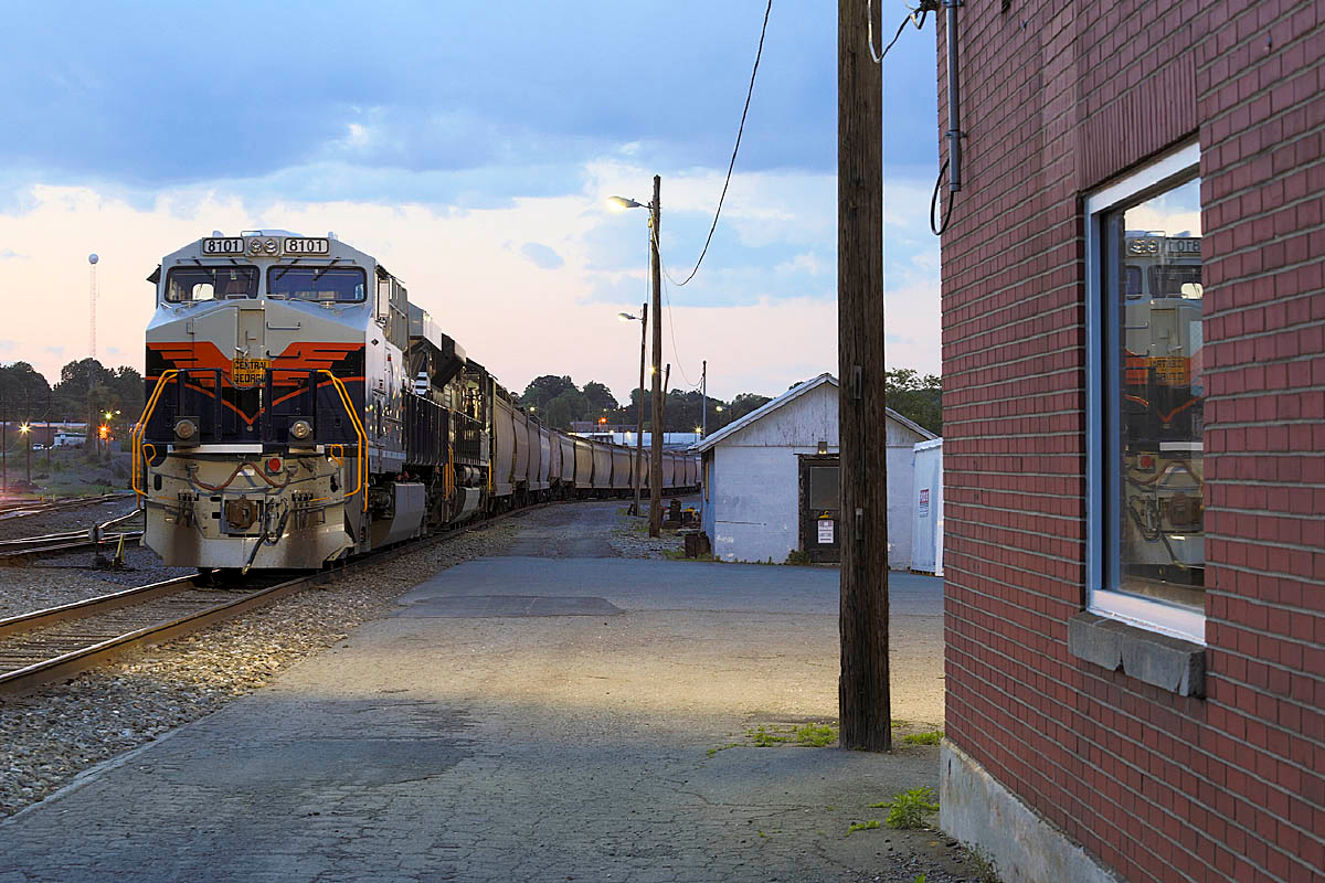A few of Norfolk Southern's Heritage motors made it to NC before and after the big party in Spencer. Here is the Central of Georgia motor in Winston-Salem,NC