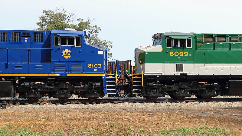 N&W and Southern RY painted motors at the NS 30th Anniversary celebration at the North Carolina Transportation Museum in Spencer,NC
