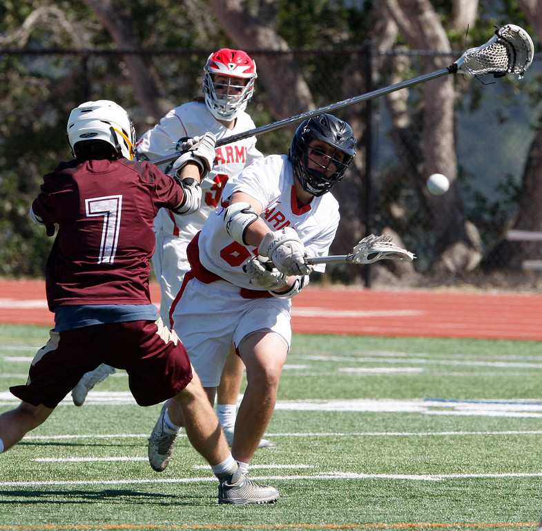 . Action during the MTAL lacrosse championship between Scotts Valley and Carmel High in Carmel on Friday, May 12, 2017.  (Vern Fisher - Monterey Herald)