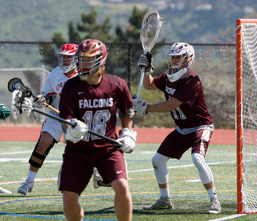 . Scotts Valley\'s goalie Ryan Johnston (11) during the MTAL lacrosse championship against Carmel on Friday, May 12, 2017.  (Vern Fisher - Monterey Herald)