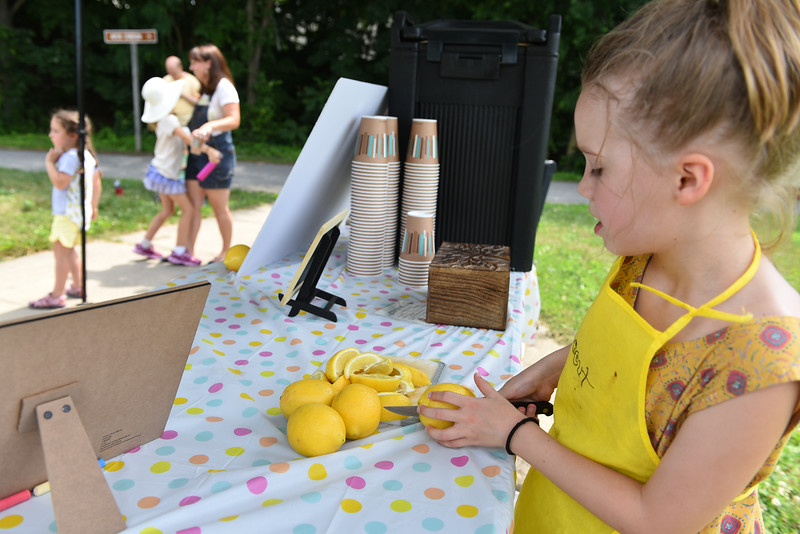 Scout Maloney, 7, of Ayer slices lemons at her lemonade stand at the Ayer end of the Nashua River Rail Trail on Sunday which was created to raise money for immigrant children on the border.  SENTINEL & ENTERPRISE JEFF PORTER
