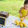 Scout Maloney, 7, of Ayer slices lemons inside her lemonade stand at the Ayer end of the Nashua River Rail Trail on Sunday which was created to raise money for immigrant children on the border.  SENTINEL & ENTERPRISE JEFF PORTER