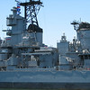 A better view of the Phalanx CIWS guns and missile launchers.