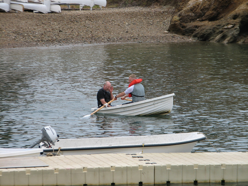 Mr. Pearson takes his turn as the victim, being rescued by boat.