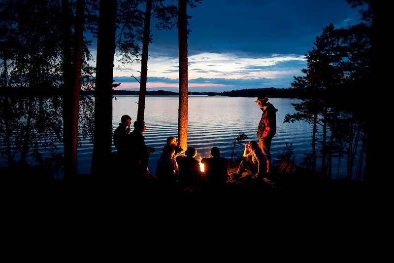 Evening campfire at the lake