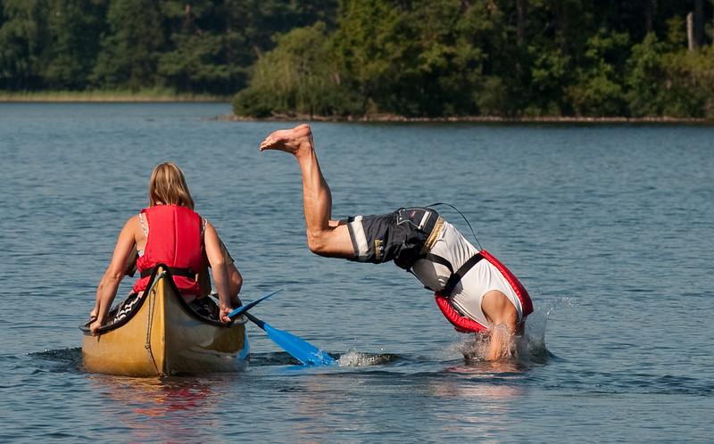 Jump from canoe
