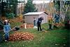 Raking leaves to help neighbors