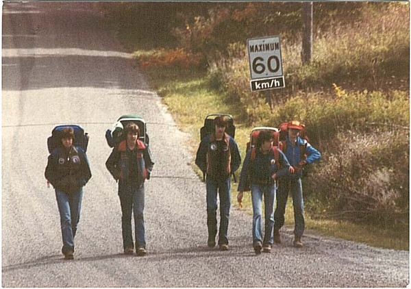 Bruce Trail Hike - early 1980s<br /> <br /> (L-R) George, Kevin Gurley, Nigel Moorcroft, Chris Root, ?