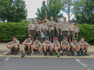 Troop 131 about to board the bus for Goshen Scout Reservation