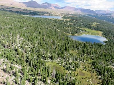 Great aerial shot of Gilbert Basin looking north, Five Point Lake and Gem lake.