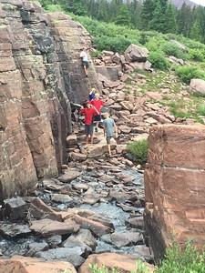 A little bouldering fun near the waterfalls in Henry's Fork.
