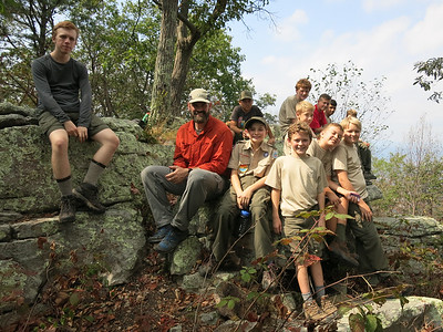 Troop 131 at the summit of Signal Knob in the GW National Forest with Scoutmaster Fraizer.