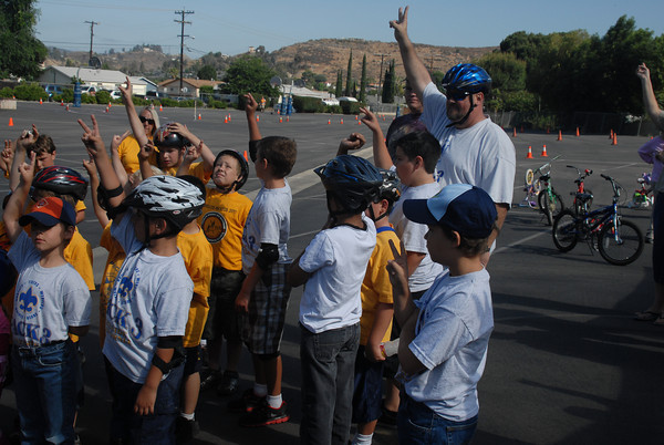 Cub Scouts Bicycle Rodeo, with Pack 342 and Pack 3 at Our Lade of Perpetual Help Catholic Church in Lakeside, California on June 16, 2012.
